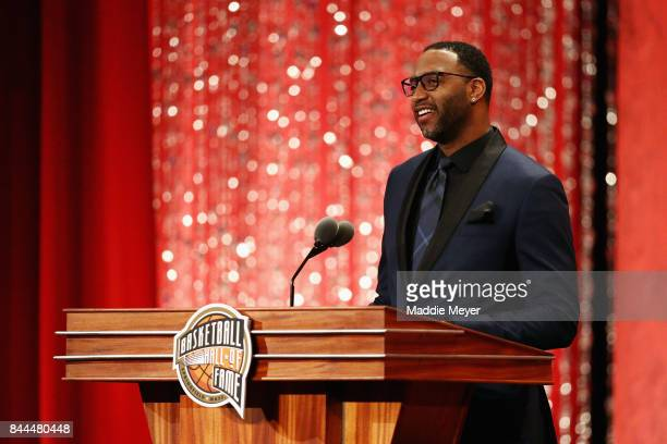 Naismith Memorial Basketball Hall of Fame Class of 2017 enshrinee Tracy McGrady speaks during the 2017 Basketball Hall of Fame Enshrinement Ceremony...