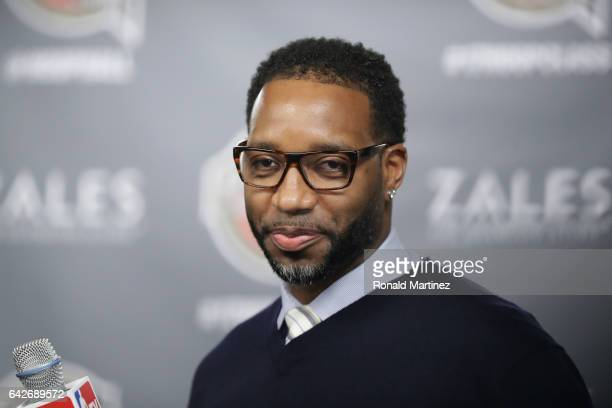 Naismith Memorial Basketball Hall of Fame finalist Tracy McGrady looks on during the 2017 Naismith Memorial Basketball Hall of Fame announcement at...