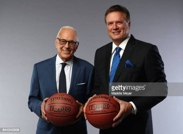 Naismith Memorial Basketball Hall of Famer Larry Brown poses with Class of 2017 enshrinee Bill Self at the Naismith Memorial Basketball Hall of Fame...