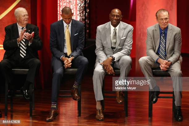 "Naismith Memorial Basketball Hall of Famers Bobby ""Slick"" Leonard Reggie Miller Spencer Haywood and Rick Barry sit onstage as Naismith Memorial..."