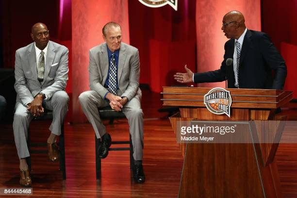 Naismith Memorial Basketball Hall of Famers Spencer Haywood and Rick Barry sit onstage as Naismith Memorial Basketball Hall of Fame Class of 2017...