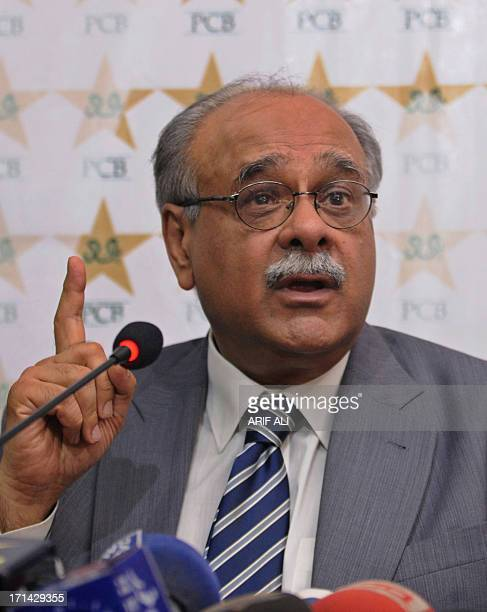 Najam Sethi interim chairman of the Pakistan Cricket Board addresses a press conference in Lahore on June 24 2013 Pakistan's interim cricket chief...