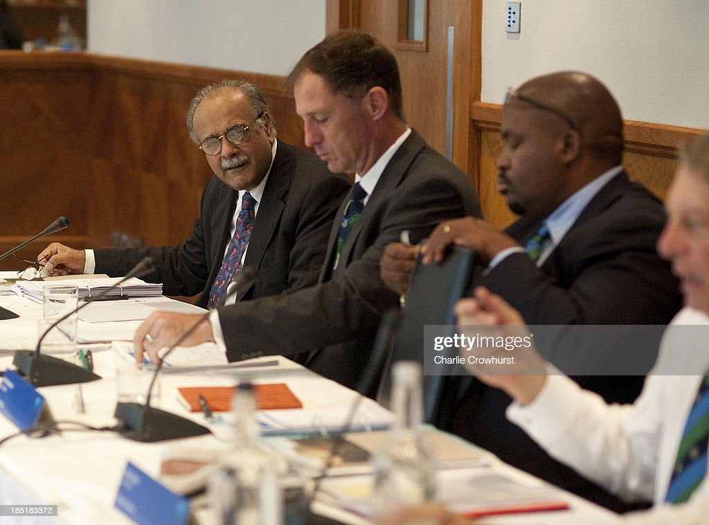 Najam Sethi of Pakistan during the ICC Board Meeting at The Royal Garden Hotel on October 18, 2013 in London, England.