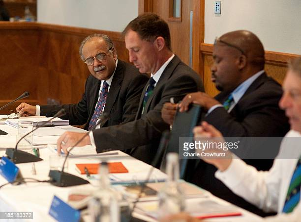 Najam Sethi of Pakistan during the ICC Board Meeting at The Royal Garden Hotel on October 18 2013 in London England