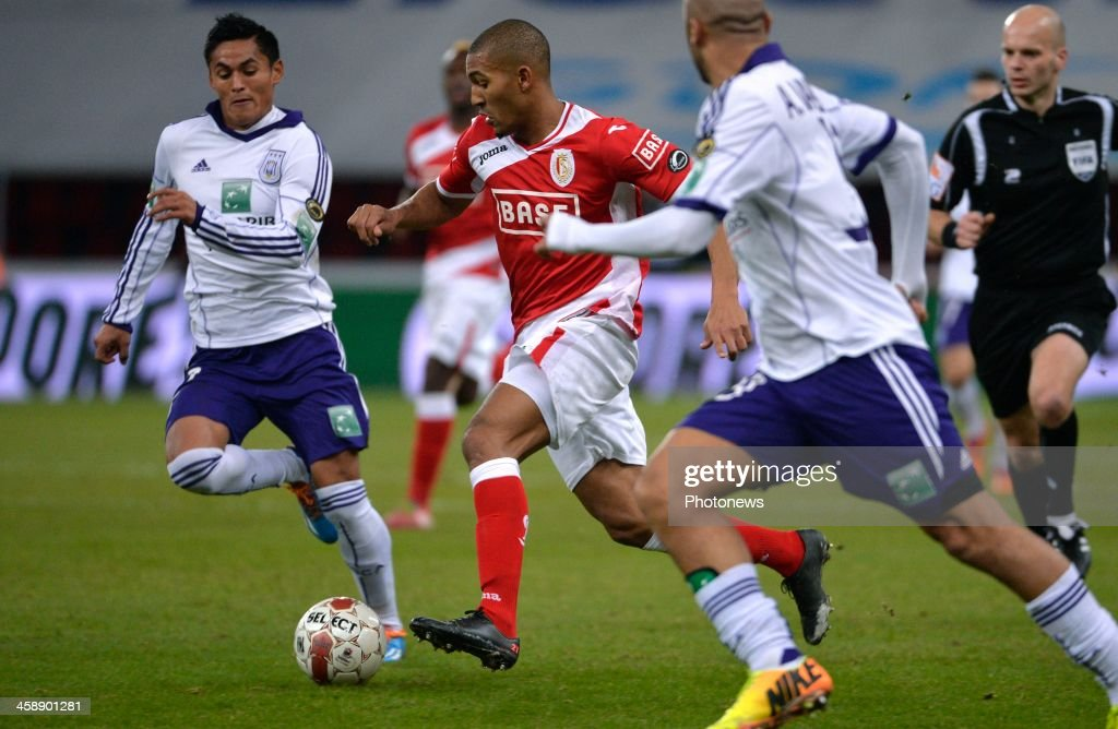 Najar Andy of Rsc Anderlecht - William Vainqueur of Standard Liege during the Jupiler League match between Standard Liege and RSC Anderlecht on December 22, 2013 in Liege, Belgium.