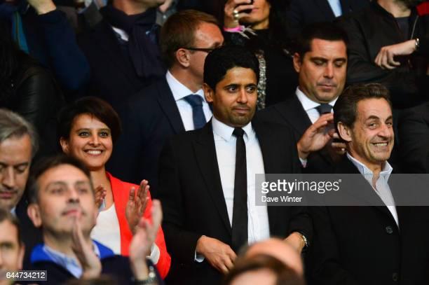 Najat VALLAUD BELKACEM / Nasser AL KHELAIFI / Nicolas SARKOZY Paris Saint Germain / Chelsea 1/4Finale Aller Champions League Photo Dave Winter / Icon...