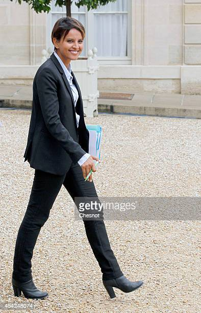 Najat VallaudBelkacem French Minister of National Education Higher Education and Research leaves after a weekly cabinet meeting at the Elysee...