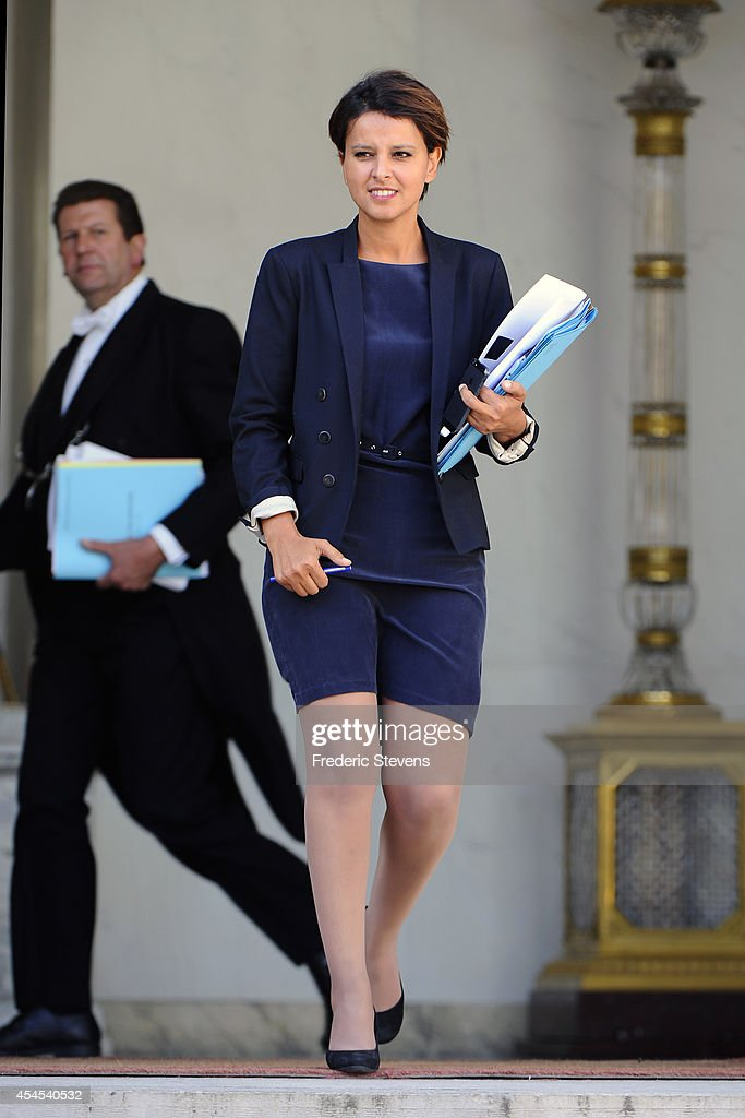 <a gi-track='captionPersonalityLinkClicked' href=/galleries/search?phrase=Najat+Vallaud-Belkacem&family=editorial&specificpeople=4115928 ng-click='$event.stopPropagation()'>Najat Vallaud-Belkacem</a>, French Minister of National Education, Higher Education and Research leaves after a weekly cabinet meeting at the Elysee Presidential Palace in Paris on September 3, 2014, in Paris, France.