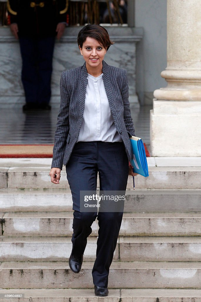 <a gi-track='captionPersonalityLinkClicked' href=/galleries/search?phrase=Najat+Vallaud-Belkacem&family=editorial&specificpeople=4115928 ng-click='$event.stopPropagation()'>Najat Vallaud-Belkacem</a>, French Minister of National Education, Higher Education and Researchs leaves after the weekly cabinet meeting at the Elysee presidential palace on November 26, 2014 in Paris , France.