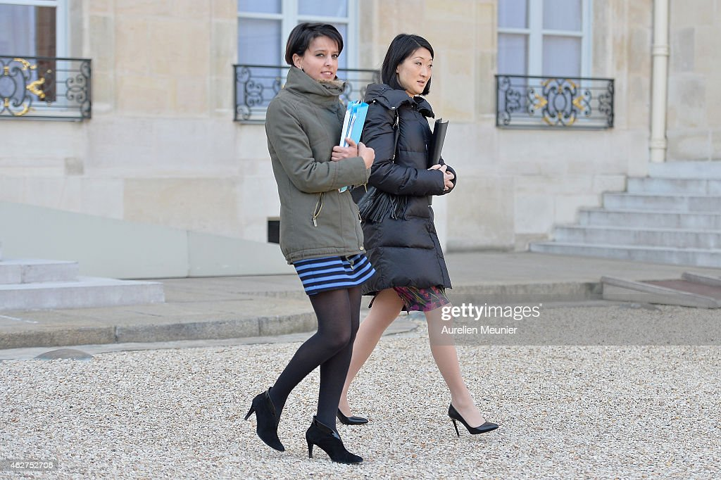 <a gi-track='captionPersonalityLinkClicked' href=/galleries/search?phrase=Najat+Vallaud-Belkacem&family=editorial&specificpeople=4115928 ng-click='$event.stopPropagation()'>Najat Vallaud-Belkacem</a> (L), French Minister of National Education, Higher Education and Researchs and <a gi-track='captionPersonalityLinkClicked' href=/galleries/search?phrase=Fleur+Pellerin&family=editorial&specificpeople=8784076 ng-click='$event.stopPropagation()'>Fleur Pellerin</a> (R), French Culture Minister leave the Elysee Palace after the weekly cabinet meeting at Elysee Palace on February 4, 2015 in Paris, France.