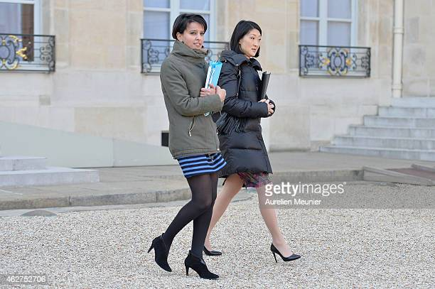 Najat VallaudBelkacem French Minister of National Education Higher Education and Researchs and Fleur Pellerin French Culture Minister leave the...