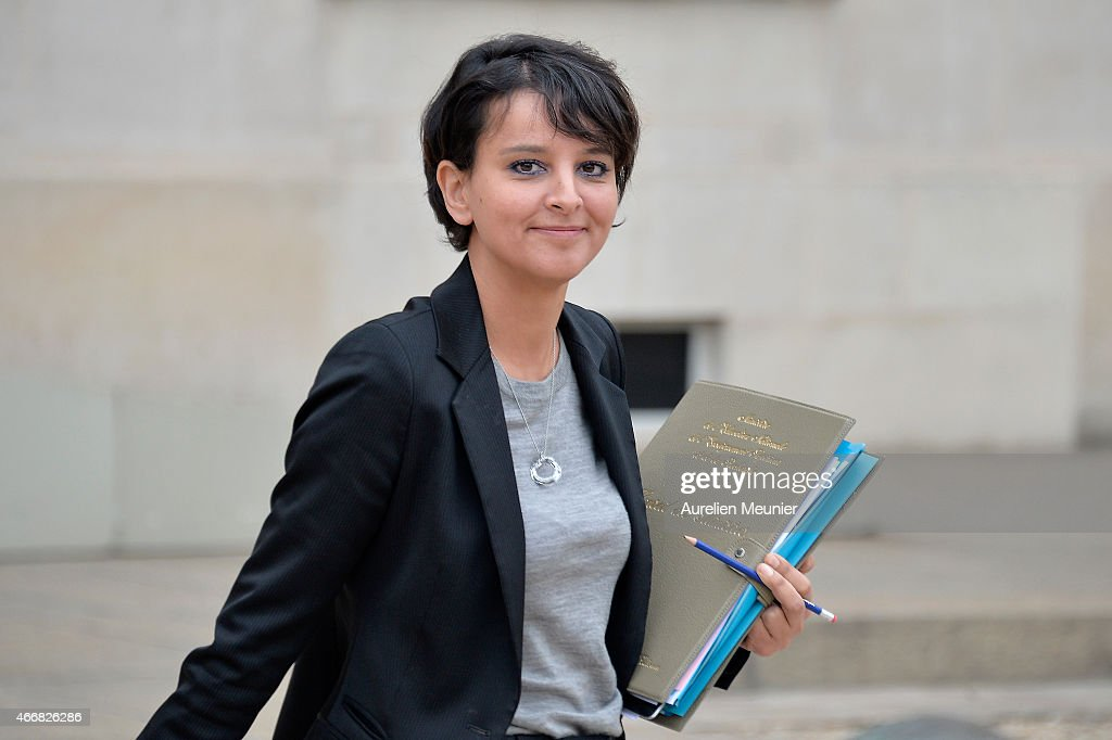 <a gi-track='captionPersonalityLinkClicked' href=/galleries/search?phrase=Najat+Vallaud-Belkacem&family=editorial&specificpeople=4115928 ng-click='$event.stopPropagation()'>Najat Vallaud-Belkacem</a>, French Minister of National Education, Higher Education and Researchs leaves the Elysee Palace after the weekly cabinet meeting on March 19, 2015 in Paris, France.