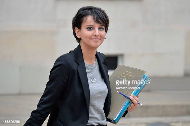 Najat VallaudBelkacem French Minister of National Education Higher Education and Researchs leaves the Elysee Palace after the weekly cabinet meeting...