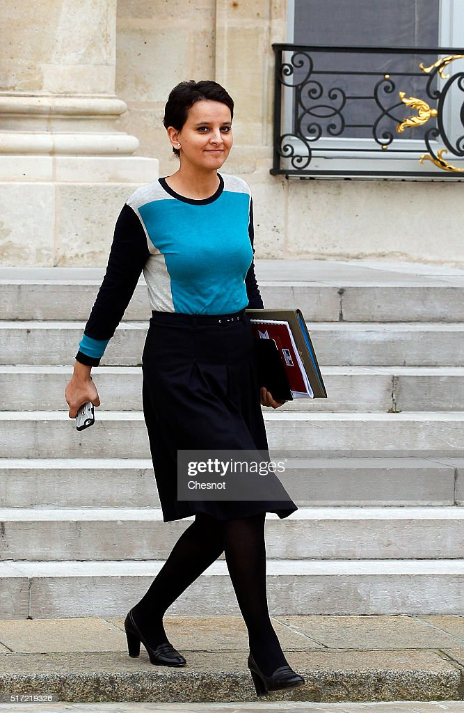 Najat Vallaud-Belkacem, French Minister of National Education, Higher Education and Research leaves after a weekly cabinet meeting at the Elysee Presidential Palace on March 24, 2016 in Paris, France.