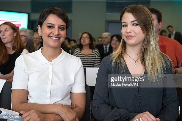 Najat VallaudBelkacem French Minister of National Education Higher Education and Research and the French YouTuber EnjoyPhoenix alias Marie Lopez...