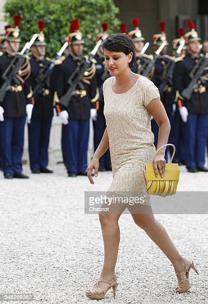 Najat VallaudBelkacem French Minister of National Education Higher Education and Research arrives at the Elysee Presidential Palace for a state...