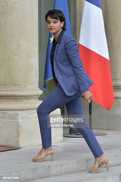 Najat VallaudBelkacem French Minister of National Education Higher Education and Research arrives to the Elysee Palace for the weekly cabinet meeting...