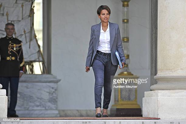 Najat VallaudBelkacem Minister of Women's Rights the City Youth and Sports attends a cabinet meeting at Elysee Palace on August 20 2014 in Paris...