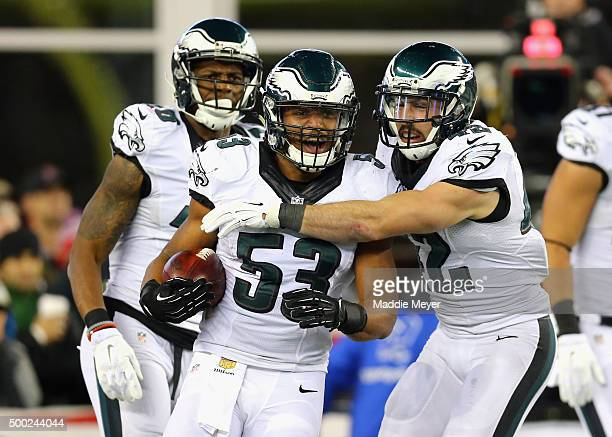 Najee Goode of the Philadelphia Eagles celebrates with teammates after recovering a blocked punt and scoring touchdown during the second quarter...