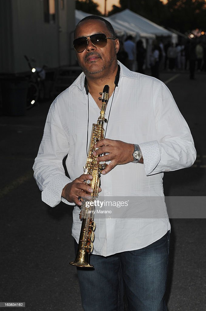 Najee poses backstage at the 8th Annual Jazz In The Gardens Day 1 at Sun Life Stadium presented by the City of Miami Gardens on March 16, 2013 in Miami Gardens, Florida.