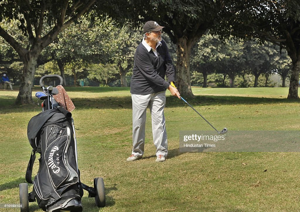 Najeeb Jung, Lieutenant Governor of Delhi playing Golf on the occasion of Lt. Governor's Golf Cup' tournament being organized by Delhi Development Authority (DDA) at Qutab Golf Course, Lado Sarai on February 14, 2016 in New Delhi, India.