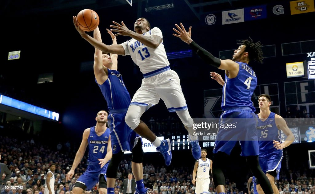 Naji Marshall #13 of the Xavier Musketeers shoots the ball against the Creighton Bluejays at Cintas Center on January 13, 2018 in Cincinnati, Ohio.