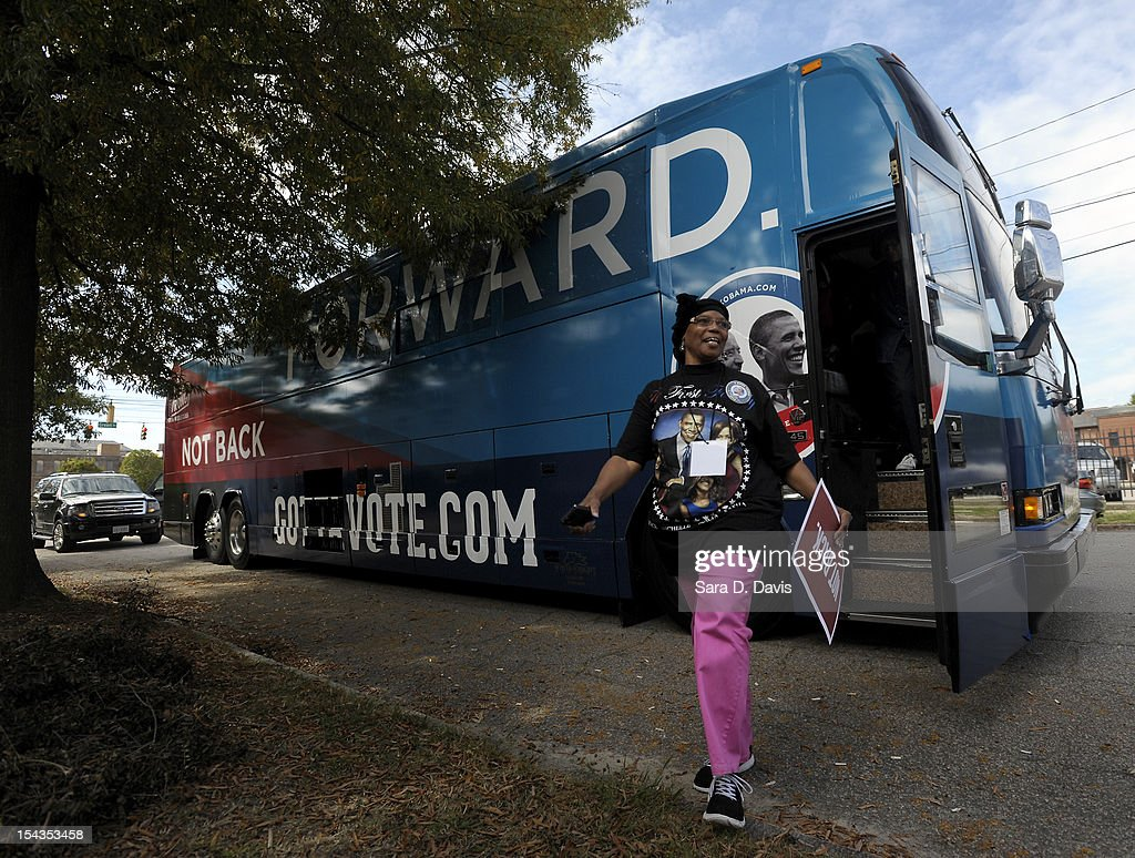 Najiyyah Aleem, 65 of Wilson, gets off the Democratic National Committee and Obama for America ÒGotta VoteÓ Bus as it arrives at a polling precinct for the first day of early voting on October 18, 2012 in Wilson, North Carolina. The DNC/OFA Bus is on a month long tour spending through the end of the week in North Carolina. Today is the first day to vote for the election in North Carolina. Early voting is offered at select location from now through November 3.