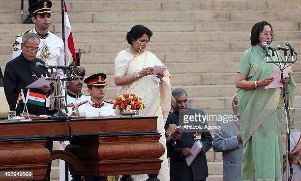 Najma Heptullah during swearingin ceremony for new Indian Prime Minister Narendra Modi and his cabinet ministers at Rashtrapati Bhavan on May 26 2014...