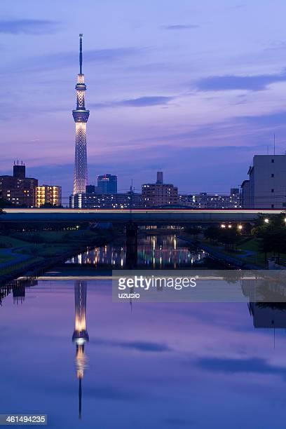 Nakagawa river with Tokyo Skytree