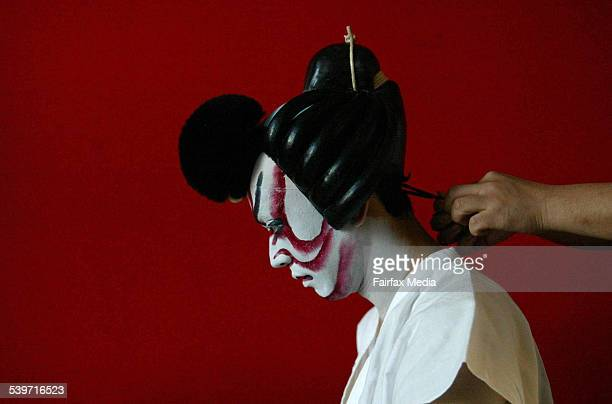 Nakamura Matanosuke applies Kumadori bombastic makeup style from the Kabuki Japanese theatre group who will be performing at the Chifley Plaza 27...