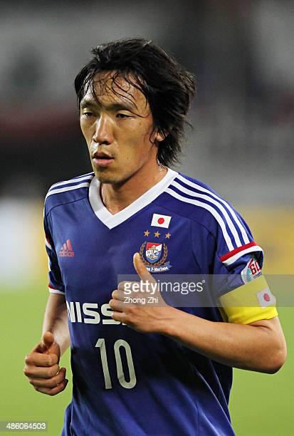 Nakamura Shunsuke of Yokohama F Marinos in action during the AFC Asian Champions League match between Guangzhou Evergrande and Yokohama F Marinos at...