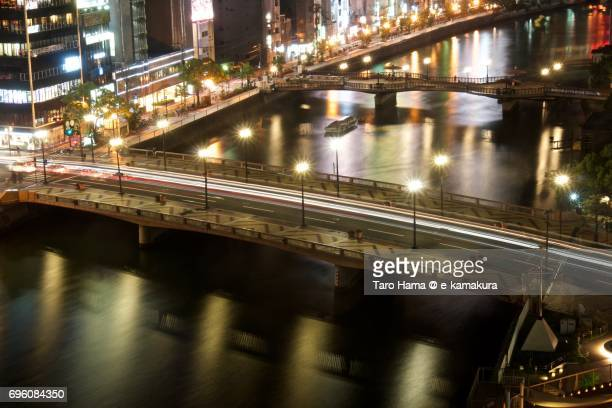 Nakasu area in Hakata district in Fukuoka city night cityscape