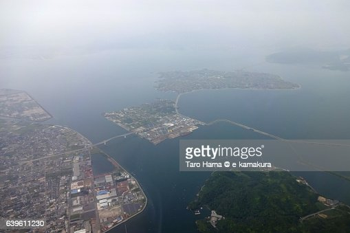 Nakaumi sea in Shimane prefecture aerial view from airplane : ストックフォト