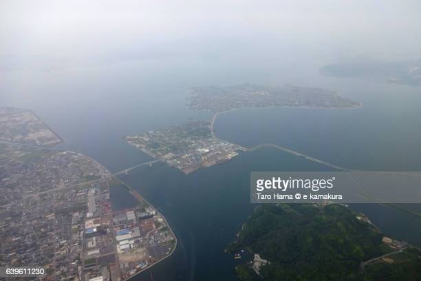 Nakaumi sea in Shimane prefecture aerial view from airplane