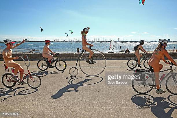 Naked bike riders cycle past St Kilda Beach during the 2016 World Naked Bike Ride on February 28 2016 in Melbourne Australia The World Naked Bike...