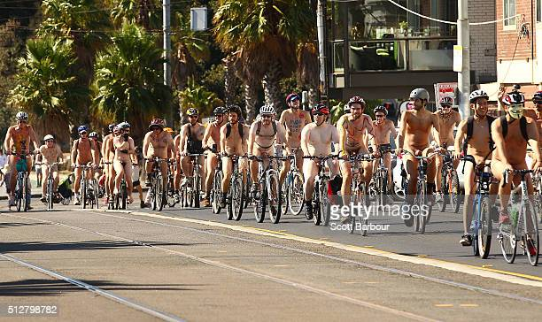 Naked bike riders cycle towards St Kilda Beach during the 2016 World Naked Bike Ride on February 28 2016 in Melbourne Australia The World Naked Bike...