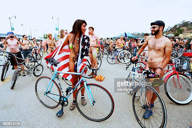 Naked bike riders getting ready for the World naked bike ride in Los Angeles California June 27 2014