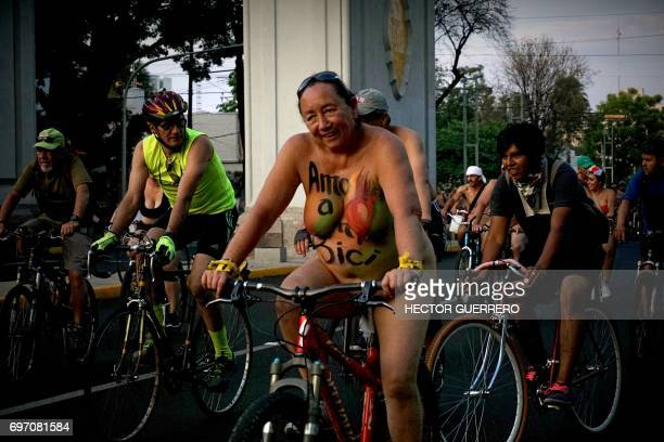 Naked bikers take part in the World Naked Bike Ride to protest against gas emissions from cars and aggressive drivers in Guadalajara Jalisco state...