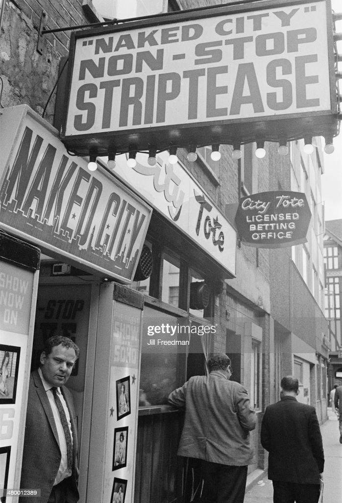 Naked City, a sex shop in Soho, London, England, 1969.
