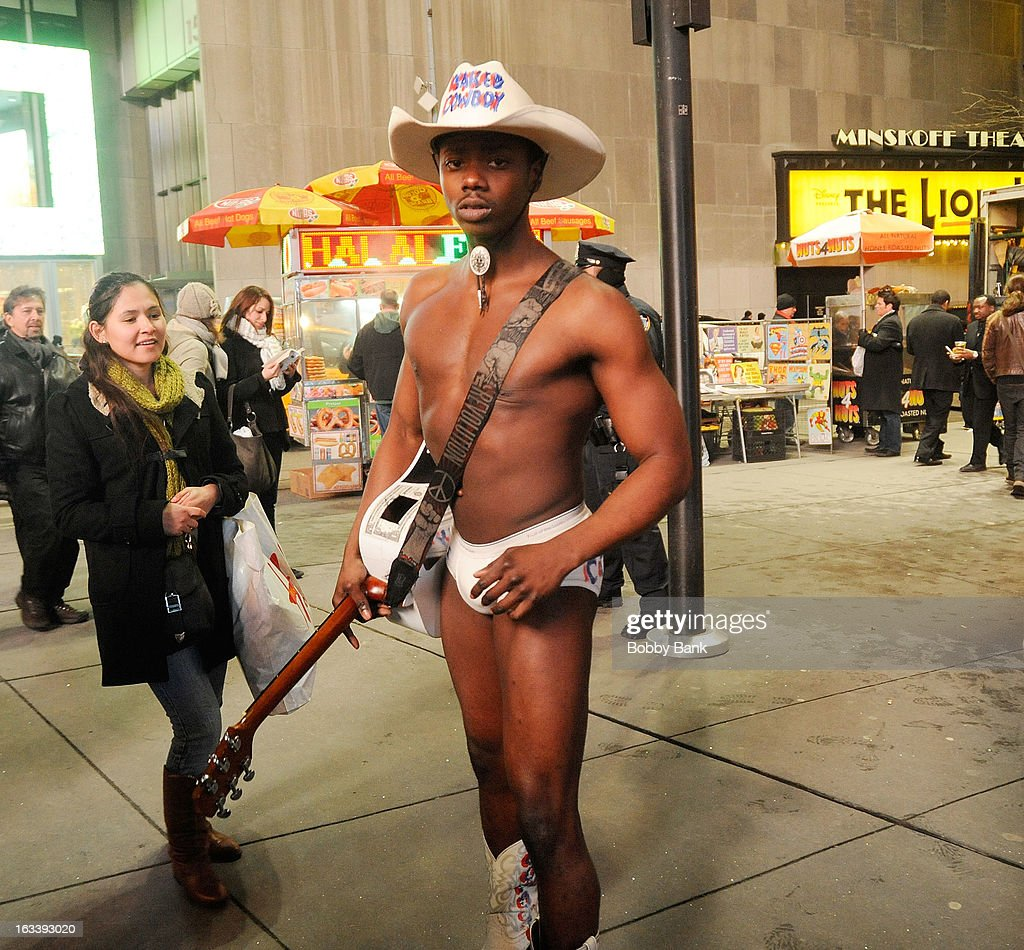 Naked Cowboy seen in the streets on March 8, 2013 in New York City.