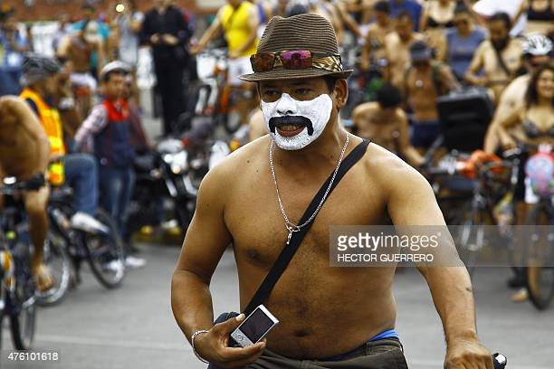 Naked cyclists take part in the World Naked Bike Ride to protest against cars gas emissions from cars and aggressive drivers in Guadalajara Jalisco...