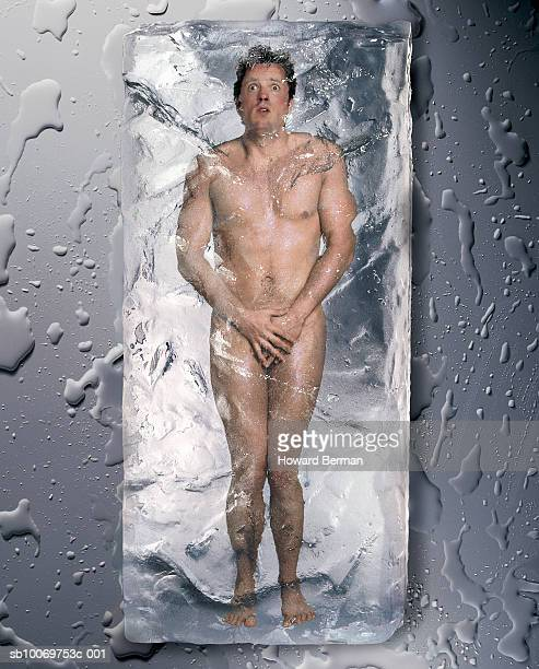 Naked man frozen in ice (digital composite)