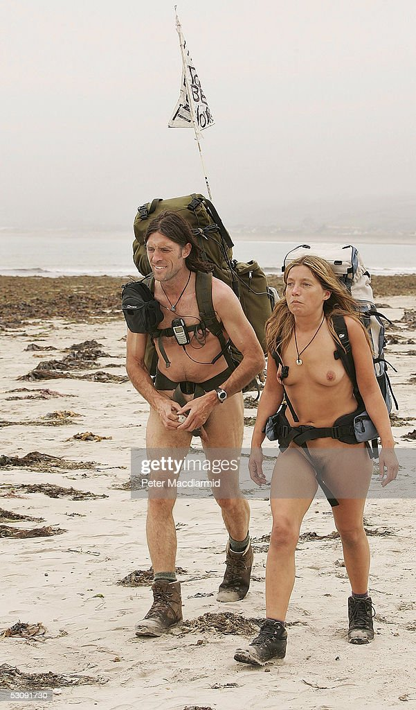 Naked ramblers Stephen Gough (L) and Melanie Roberts continue their walk to John O'Groats on June 17, 2005 at Marazion, England. Gough took the same challenge two years ago and was arrested 14 times.