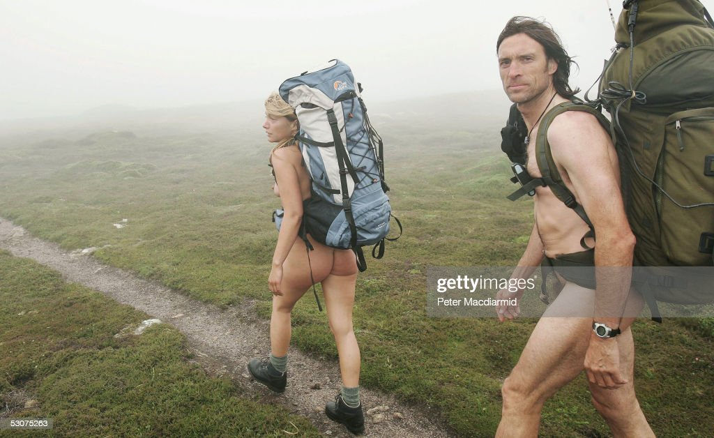 Naked ramblers Stephen Gough and Melanie Roberts set off on their walk to John O'Groats on June 16, 2005 at Land's End, England. Former Royal Marine, Gough, took the same challenge two years ago and was arrested 14 times.