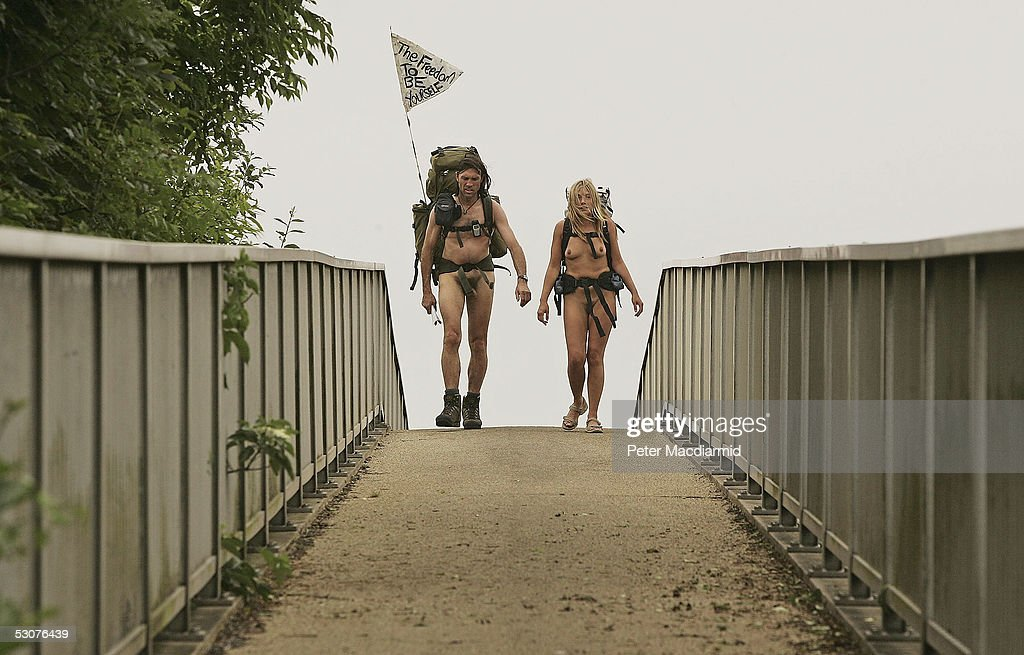 Naked ramblers Stephen Gough (L) and Melanie Roberts walk in Cornwall en route to John O'Groats on June 16, 2005 at Penzance, England. Gough took the same challenge two years ago and was arrested 14 times.