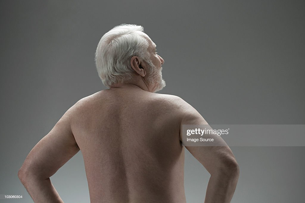Naked senior man, rear view