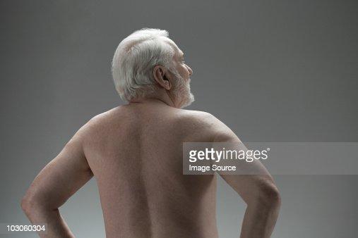 Naked senior man, rear view