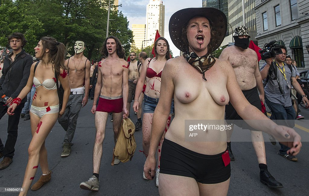 Naked students protest againt the Liberal Governament, Special Law 78, and tuition fee increases on June 7, 2012 in Montreal, Canada. Special Law 78 requires organizers to give police at least eight hours advance warning of times and locations of protest marches, with hefty fines imposed for failing to do so. Students have rejected a government offer to reduce the tuition hike by Can$35 ($34) per year, which would bring the total increase to Can$1,533 ($1,473) over seven years instead of Can$1,778 ($1,708).