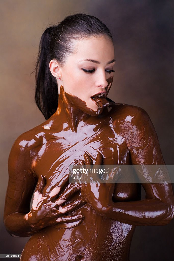 naked and covered in chocolate