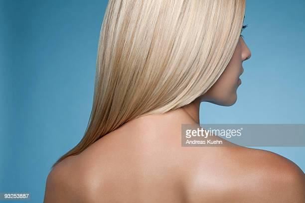 Naked woman rear view, close up.